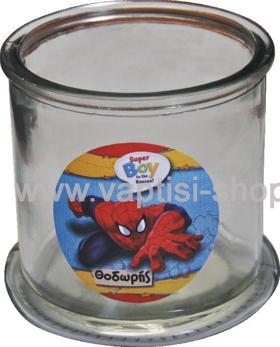 Γυάλα με αυτοκόλλητo Spiderman μπροστά και πίσω