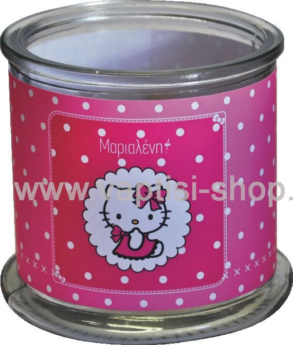 Γυάλα με αυτοκόλλητo Hello Kitty περιμετρικά