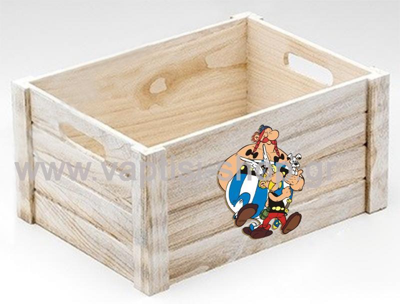 Ξύλινο Καφάσι Λευκό με Χερούλια Asterix