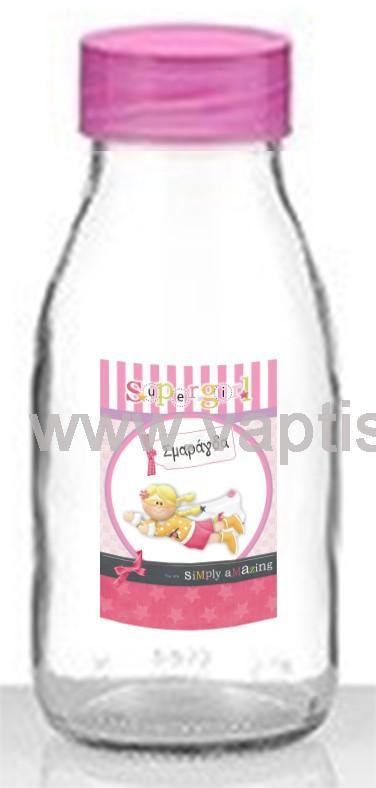 Μπουκάλι Aqua με Πλαστικό Καπάκι Super Girl 250ml