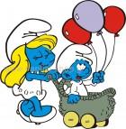 Στρουμφίτα με Μωρό στο Καροτσάκι
