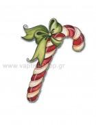 Μπαστουνάκι Χριστουγεννιάτικο με Φιογκάκι