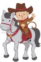 Μαϊμουδάκι Cowboy πάνω σε Άλογο