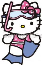 Hello Kitty με Μάσκα και Βατραχοπέδιλα